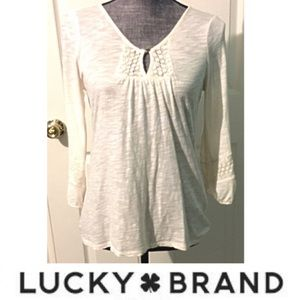 Lucky Brand Peasant Top Cream Semi Sheer Lace